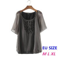 Fashion Women Tops And Blouse Folds Chiffon Blouse O-Neck Short Sleeve Sexy Sheer Polka Dot Blouse Shirts Blue & Black