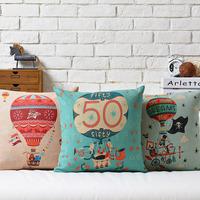 Pixar  Cartoon cute hot air balloon cotton pillow cushion cover Fire balloon pillow Square Pillowcases  Home Decor sofa cushions