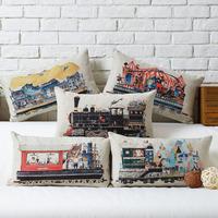 Nordic IKEA Cartoon  Creative Train Series cotton pillow cushion cover Pillowcases Linen Pillow cover Home Decor sofa cushions
