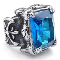 Vintga Trendy  Men's  Blue Zircon Ring  Titanium Steel   Punk Ring Free Shipping