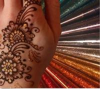 Free shipping wholesale 3 pcs India's imports gold silver multicolor Henna temporary tattoo shiny glitter glue body paint art