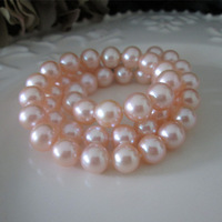 Custom Made Top Qaulity Perfectly Round Pink 9-10MM Natural Freshwater Pearl Necklace Fashion Necklace for Women