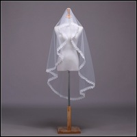 Retail 2014 New Wedding Accessories Single Layers Veil Soft Bridal Veil Long Flower Lace Veil For Bridal Free Shipping