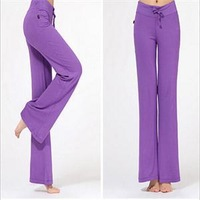 Bright Fashion Sports Pants Women Athletic Wide Leg Pants Women Solid Full Length Drawstring Loose Fitness Yoga Pants Multicolor