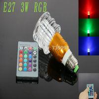 E27 3w RGB Crystal LED Light Gold And The White Stripes Mushroom shape Bulb With IR Remote Controller (85V-265V)