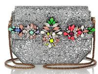 Vintage s*h*ou**rouk  crystal decorative Sequin flash powder PVC Messenger Bag / Handbag