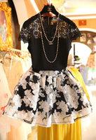 Free shiping elegant temperament 2014 thin Cover a small pot elegant dress one-piece dress 30-40 plus size clothing lyq set