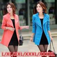L-4XLsize coats women 2014 new plus size slim medium long women winter coat warm woollen coat free shipping