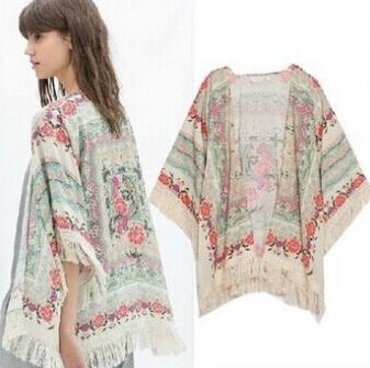Новая коллекция весна лето дамы цветочный узор пальто кисточкой мыс кимоно кардиган ...