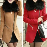 2014 New Women Woollen Winter Faux Fur Collar Zip Long Trench Coat  Outwear