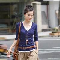 2014 Autumn Summer  Best Selling Korean Fashion V-neck Long-sleeved Bottoming Shirt Long-sleeved Ladies PocketsT-shirt 5Colors