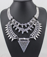 SM1194 z**ar*a new multilayer rivet hot sale exaggerated Daft Punk metal night short necklace