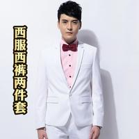Fashion style Men's white blazer &pants slim fit white groom suit set formal dress super quality man clothing set brand