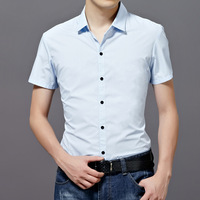 Heilanhome men's clothing 2014 male short-sleeve shirt slim solid color male clothes 100% cotton