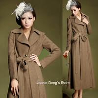 Free Shipping Fall Women's Fashion Slim Camel Wool coat , Female Belt Long Woolen Overcoat , Winter Cashmere Coats For Woman
