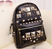 2014 Newest Fashionable rivet backpack Women's Backpack Rivets PU Leather hot selling