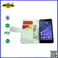 200pcs/lot for Sony Xperia Z3 Book Flip Leather Wallet Case Cover Laudtec