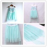 BB056 Free shipping new 2014 girls dress frozen blue lace summer sleeveless elsa childrens dress kids beatiful dress retail