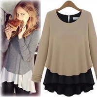 Hot-sell Free Shipping faux two piece set patchwork thickening chiffon shirt basic shirt long-sleeve sweater