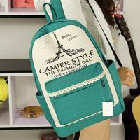 2014 new sweet lady canvas lace bag female Korean tide Paris tower backpack schoolbag