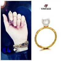 Fashion Punk 18K Gold Color Imitation Pearl Midi Finger Knuckle Ring Set Special Wedding Ring Jewelry Wholesale Factory