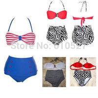New Stuff WE Love High Waist Bikini Swimsuit Retro Beach Maillots DE Bain 2014 Hot Sale Swimwear Triangle Biquini Free Shipping