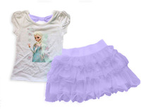 Girls Frozen Princess Elsa Dress suit(T shirt + dres) 2 Pcs Set, for 2-12 Aged Layered Tutu Dress Sets Frozen Clothing Sets,