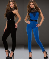 Sexy Bodycon Slim Closefitting Embroidered Neck Black Jumpsuit rompers womens jumpsuit 2014 women clothing set long pants 6590