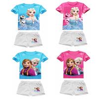 Free Shipping 2014 New Retail Cotton Children's Garments 1set Frozen ANNA ELSA T-Shirt + Short  2-6 Years