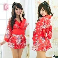 Sexy Japan Kimono Style Pajamas Robes Bathrobe Sex toy Uniform Cosplay Women  V-neck Sleepwear  Nightdress Gift