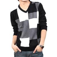 Winter Autumn Brands Man Sweaters Striped Grid Wool Oversized Men Pullover V-neck Long Sleeve Knitwear Casual Outwear Tops  8927