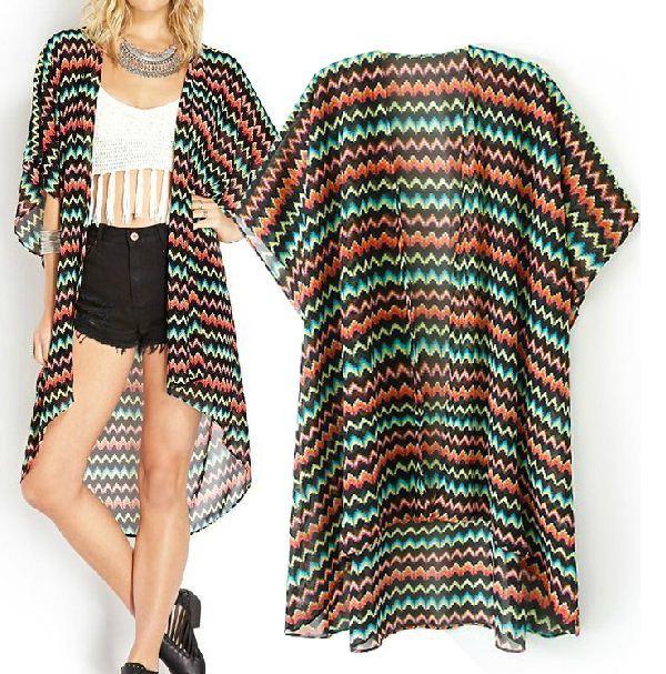 2014 verão novo estilo europeu ondulado listras camisa de chiffon kimono irregular protetor solar cardigan frete grátis()