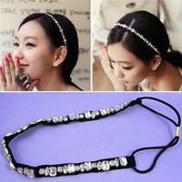 New narrow Black Elastic Headband Crystal Shiny Head Wear Fashion Hair Accessories