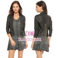 Spring and Autumn fashion chains decoration women jackets / Vintage dovetail PU leather slim short black women coat XS-XXL