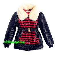 retail  Girls winter outerwear !  children's stripe clothing fur collar warm coat plus belt cotton coat  ELZ-S0295