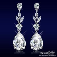 Women Engagement Jewelry Crystal Earring Rhodium Plated Lady Romantic Dangle Cubic Zirconia Diamond Earrings  (Silveren SE1323)