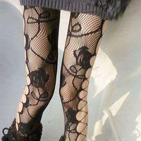 Vintage rose of sidepiece HARAJUKU sidepiece cutout sexy jacquard fishnet stockings pantyhose