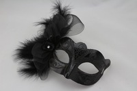 Venice Masquerade Masks Unisex Lace Feathers Full Face Party Mask Black White Cosplay Accessories