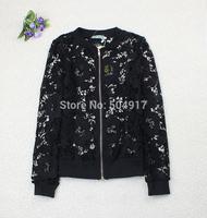 2014 Autumn fashion brand Lace Crochet Baseball cardigan jacket Ladies Top coat for fall women office work wear casaco feminino