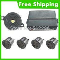 Black Simple Car 4 Parking Sensor Reverse Backup Radar Kit Buzzer #896