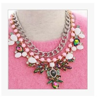 Min order is $10(mix order)New arrived Multi-colored flower necklace collarbone fashion necklace for women choker necklace XL630