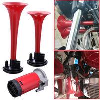 1 Set Red DC 12V 135db Dual Trumpet Air Horn Compressor Kit Train Car Truck Boat