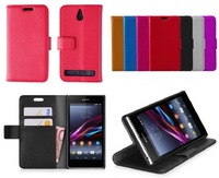 Luxury Wallet Stand Leather Case For Sony Xperia E1 With Credit Card Holder Mobile Phone Cases, 1Pcs