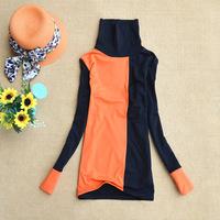 wholesale Autumn Winter Women Mixed colors long-sleeved t-shirt high collar Warm Velvet Bottoming Shirt Garment Blouse
