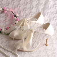 (15 Colors)Custom Handmade Ivory Lace Heel Wedding Shoes Bride Closed Toe 8CM Free Shipping