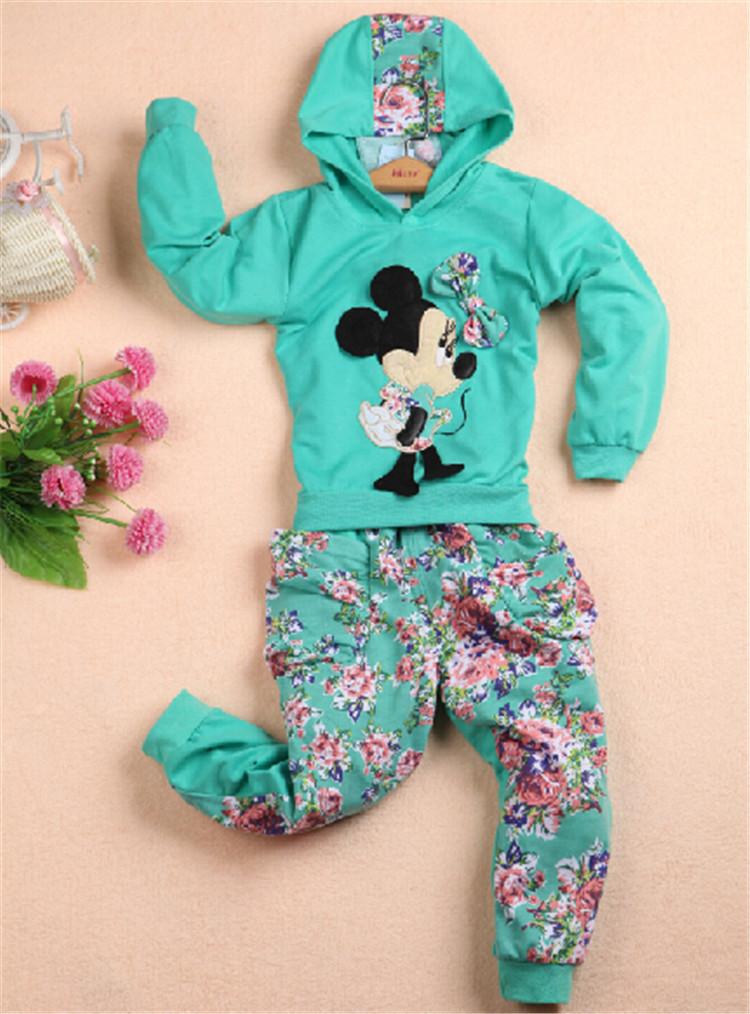 Retail 2014 New Hot Sales Spring Autumn baby girls Sport suit set cartoon long sleeve children hoodies sets hoodies+pant.(China (Mainland))