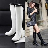 Big size Cool Knight Boots Knee High Boots for Women Gladiator Thick Med Heels Platform Shoes Winter Autumn Shoes woman 2014 New