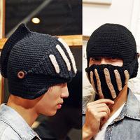Hot Sale 2014 men's Hats High Quality Beanies Wool Knitted Hat Crochet Knight Cap Balaclava Hood Ski Mask Warm Caps Winter Hats