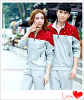 2014 sportswear suit short-sleeved men's casual sportswear for men and women sports suit Autumn lovers big yards with