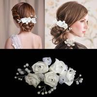 Bride Hair Accessory Handmade White Rose Flower Pearl Hair Stick Hair Pin Hair Clip Wedding accessories
